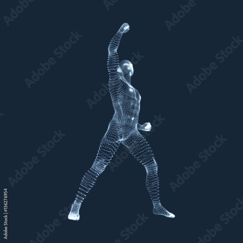 Standing Man  Human with arm up  Silhouette for sport