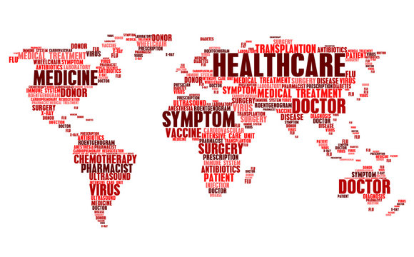 Cloud tags of medical health words in world map