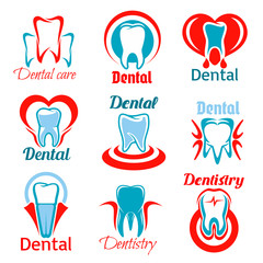 Dentistry and stomatology tooth vector icons set