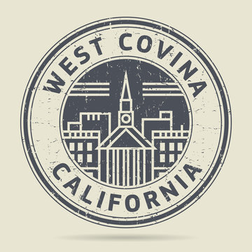 Grunge rubber stamp or label with text West Covina, California