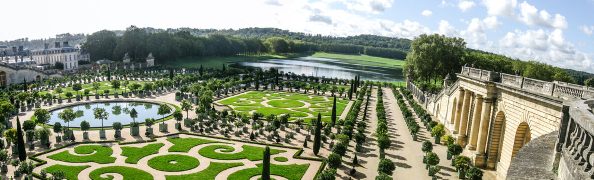 Beautiful garden with green geometric shapes in France