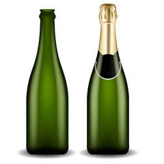 Realistic Champagne Bottles : Vector Illustration