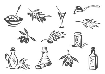 Olive products oil, pickles vector isolated icons