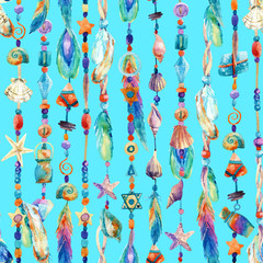 Watercolor colorful chains with sea shells, beads, feathers seamless pattern.