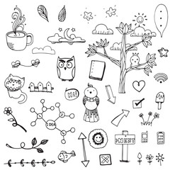 doodle sketch drawing vector element on white background