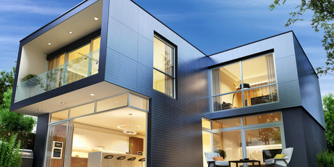 Modern house of the solar panels