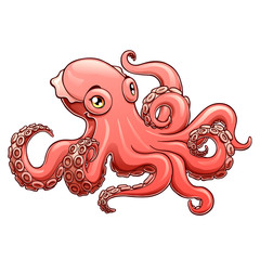 Lovely pink octopus contour line on white