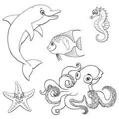 Set five cute marine animal black contour
