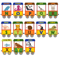 train alphabet with animals N to Z  - vector illustration, eps
