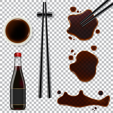 Soy sauce isolated on transparent background