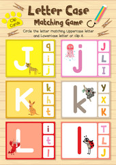 Clip cards matching game of letter case J, K, L for preschool kids activity worksheet in animals theme colorful printable version layout in A4.