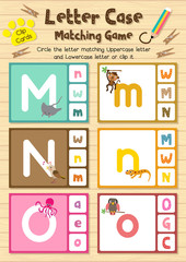 Clip cards matching game of letter case M, N, O for preschool kids activity worksheet in animals theme colorful printable version layout in A4.