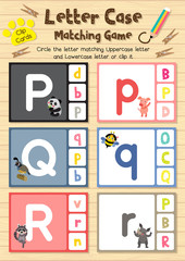 Clip cards matching game of letter case P, Q, R for preschool kids activity worksheet in animals theme colorful printable version layout in A4.