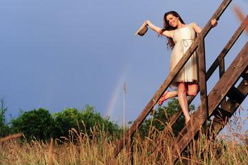 In de dag Fantasie Landschap Young beautiful woman (model-released)