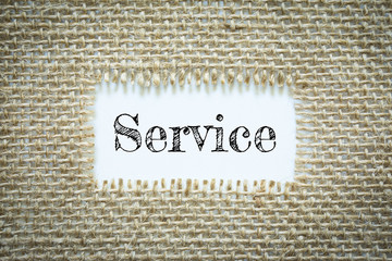 Text Service on paper white has Cotton yarn background you can apply to your product.