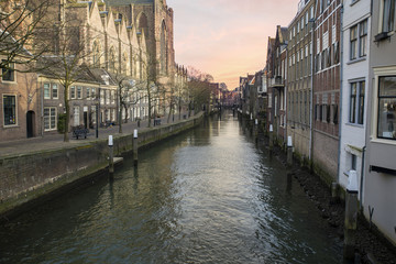 Historical architecture on a canal