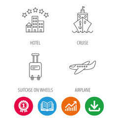 Hotel, cruise ship and airplane icons. Baggage linear sign. Award medal, growth chart and opened book web icons. Download arrow. Vector