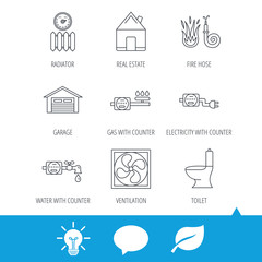 Ventilation, garage and heat radiator icons. Gas, water and electricity counter linear signs. Real estate, toilet and fire hose icons. Light bulb, speech bubble and leaf web icons. Vector