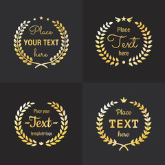 Wreath gold logo hipster vintage vector set. Part one.