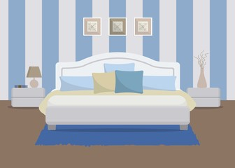 Bedroom in a blue color. There is a bed with pillows, bedside tables, a lamp, a vase and other objects in the picture. Vector flat illustration
