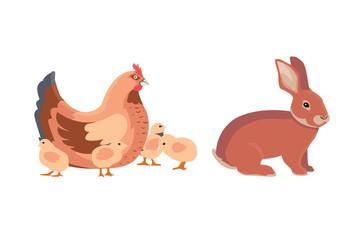 hen and chicks, rabbit . vector farm animals set