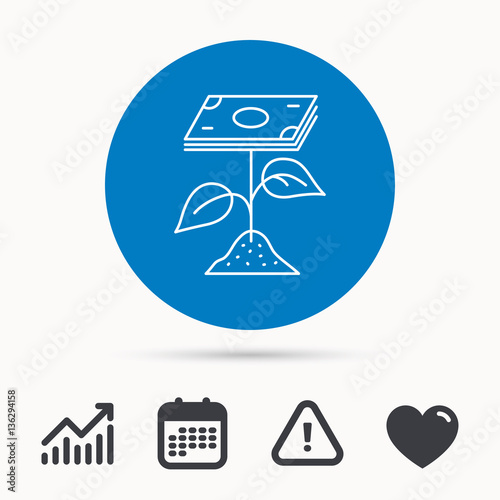 Profit Icon Money Savings Sign Flower With Cash Money Symbol