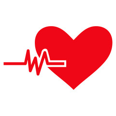 Heart Pulse flat icon. Vector red symbol. Pictograph is isolated on a white background. Trendy flat style illustration for web site design, logo, ads, apps, user interface.