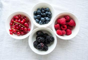 Mix of fresh berries. Raspberry, red currant, blackberries, blub