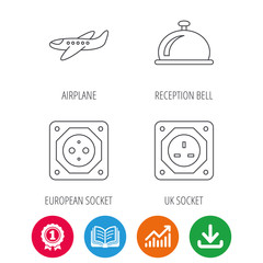 Air-plane, european socket and reception bell icons. UK socket linear sign. Award medal, growth chart and opened book web icons. Download arrow. Vector