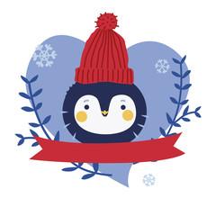 Cute penguin character design with ribbon
