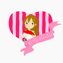Be My Valentine. A girl holding red rose bouquet with heart shape background