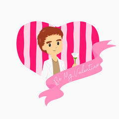 Be My Valentine. Guy holding a white rose with heart shape background