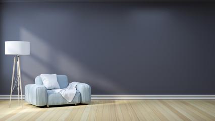 Minimalist  interior design,light gray sofa with lamp on dark  gray wall and hardwood flooring , 3d render