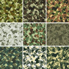 set of nine vector colorful military patterns