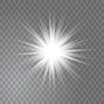 Bright glowing light sun burst on transparent background. Glitter star effect decoration with ray sparkles for your design. Vector illustration