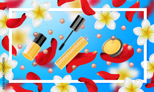4993fcd61a81f decorative cosmetics make up accessories beauty store. Summer or spring  background with tropical flowers and