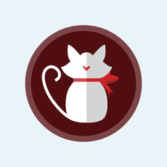 Cute Cat Love concept. icon in flat style. Design element for Wedding, Birthday or Valentines Day. Vector illustration