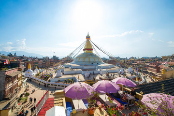 The Wisdom eyes on Boudhanath stupa landmark of Kathmandu
