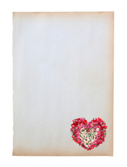 Old brown paper with image of heart roses flower isolated on white background