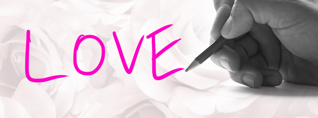 """Hand holding a pencil on a vintage rose background, writing for word """" Love """""""