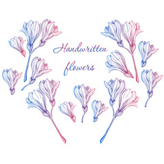 greeting card with colored handwritten flowers on white background
