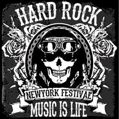 """monochrome hipster vintage label , badge , flayer """" hard rock """""""
