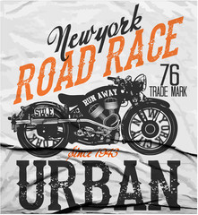 Motorcycle label t-shirt design with illustration of custom chop