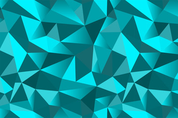 Abstract turquoise geometric triangular seamless low poly style background. Vector illustration