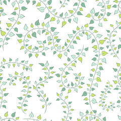 vector seamless floral background with green clambering plants