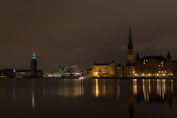 A view of the night city hall in Stockholm. Sweden. 05.11.2015