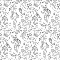 Illustration of two girls and different stuff for traveling. Seamless pattern for coloring. Black and white, anti-stress. Adult and children coloring books.