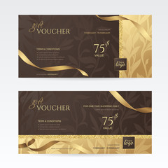 Set of luxury gift vouchers with golden ribbons and floral patterns on the deep brown background. Vector template for gift card, coupon and certificate. Isolated from the background.