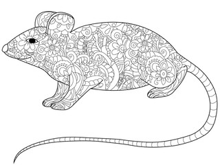 rat Coloring book vector for adults