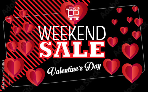 Sale Discount Banner For Valentines Day Weekend Sale Vector Special